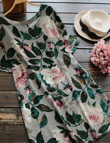 Zaful Dresses & Skirts - Floral Linen Shift Dress